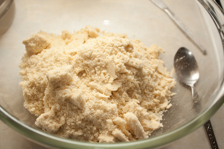 Flour and sugar with fat rubbed in