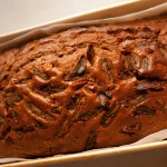 Date and Walnut Gingerbread Cake in loaf tin after cooking