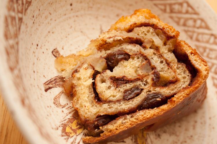Slice of Apple, Cinnamon, and Raisin Loaf